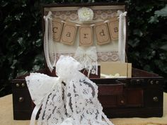 Wedding Card Holder Suitcase Post Box Handmade Bunting Wooden Vintage Style With Ribbon and Lace by TheIvoryBow on Etsy