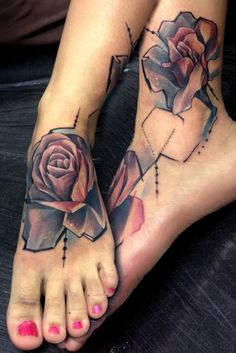 rose tattoo on foot - 50 Awesome Foot Tattoo Designs ! Cute Foot Tattoos, Tattoos 3d, Body Art Tattoos, Sleeve Tattoos, Tatoos, Skull Tattoos, Temporary Tattoos, Tattoo Girls, Girl Tattoos