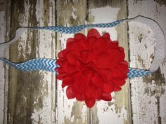 Suess Headband Red Chiffon Flower on a Turquoise by craftmomof3, $4.99