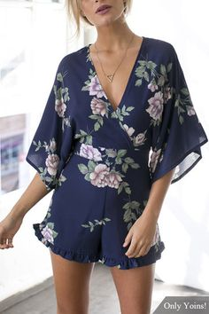 Navy V Neck Floral Print Playsuit