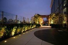 Outstanding Design Ideas from Manhattan Penthouse Apartments: Outstanding Manhattan Penthouse Apartments Evening View Charming Terrace Balcony With Wooden Floor Combine With Concrete Floor Also Small Floor Lights With House Plants ~ iamsaul.com Apartment Inspiration