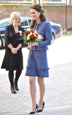 Kate, who last night wore a £590 pair of platinum lamé Oscar de la Renta stilettos to a Buckingham Palace engagement with the Queen, was at Ronald McDonald House Evelina London on Tuesday.