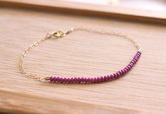 plum purple  lucky gold bracelet by minco on Etsy, $15.00