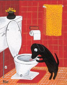 Funny Lab Dog Art 5x7 Dog Drinks Out of Toilet Red di 3crows, $9.00