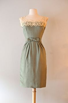 RESERVED Vintage 1950's Silk Cocktail Dress by Bernetti ~ Vintage 50s Sage Green Silk Dress with Ivory Lace by xtabayvintage on Etsy