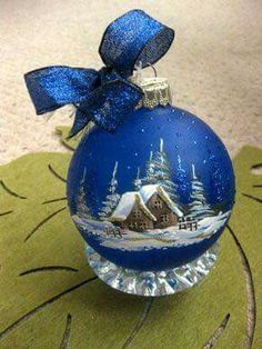 Beautiful Blue Christmas Ornaments!!!  Bebe'!!!  This beautiful ornament has a Winter Village painted on it!!!