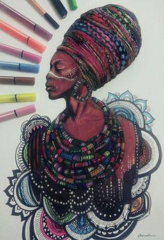 Keçeli kalem - afrikalı kadın çizim. African woman drawing. art