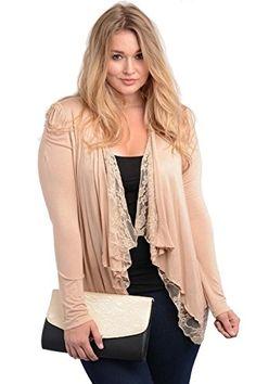 3f346ff7b5 2LUV Plus Womens Open Drape Puff Shoulder Cardigan Puff ShoulderTaupe XL   gt  gt  gt · Cute CardigansPlus Size ...