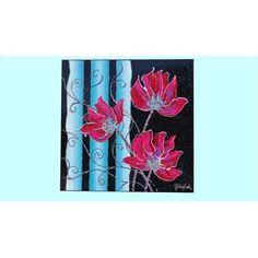 """Quadri Moderni Fiori """"Decorazione floreale"""" Particolare. Tecnica mista su tela. Sullo sfondo nero, strisce decorative turchesi sfumate e fiori magenta in risalto. Dipinto astratto dalle gradevoli combinazioni di colori."""