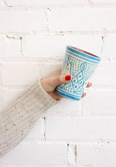 Moroccan Ceramic Mugs, Handmade in Morocco – Turquoise. From Baba Souk