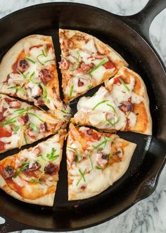 Stovetop Skillet Pizza - Sliced in Pan