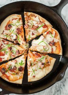 Stovetop Skillet Pizza - Sliced in Pan