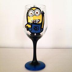 Minion wine glass - 20 oz by ocglassware on Etsy