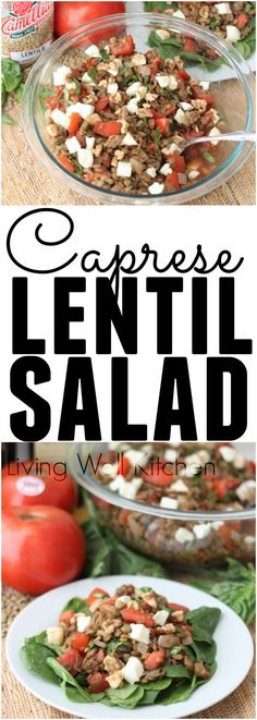 Caprese Lentil Salad from @memeinge is a surprisingly unforgettable salad that screams summer! Protein and fiber-filled salad that is packed with veggies and flavor. Vegetarian & gluten free