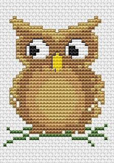 I made this owl cross stitch in 5 different colors for Isaac's room. The pattern was free and easy, and they look great perched on his vinyl tree decal!