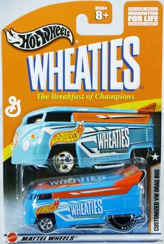 HOT WHEELS CUSTOMIZED VW DRAG BUS WHEATIES #85694 NRFP MINT COND 2003 LT. BLUE