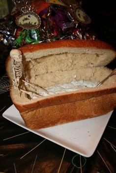 BOO! 23 Creepy, Creative Halloween Party Foods. Bread coffin dip is a cute idea.