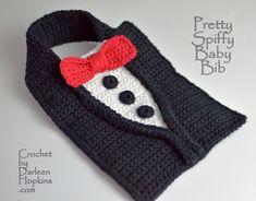 Baby Bib crochet pattern TUXEDO by Darleen Hopkins bow tie #CbyDH