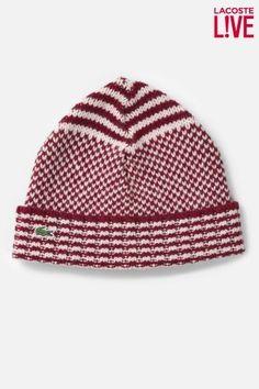 Lacoste Men s L!VE Merino Wool Patterned Knit  Beanie Lacoste Men 375ae7c416f