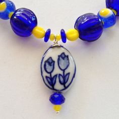 Gift for Mom or Grandma Necklace Magnetic Clasp Dutch Tulip Blue White Yellow Matching Earrings Available