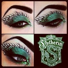 AMAZING Slytherin inspired Eye Make-Up. Combines my love of Harry Potter and makeup. Harry Potter Halloween, Harry Potter Make-up, Eye Makeup Designs, Eye Makeup Art, Eye Art, Maquillage Harry Potter, Slytherin, Hogwarts, Dragon Makeup