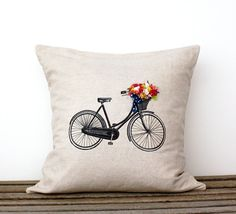 Decorative Bicycle Pillow Cover- Bicycle Basket of Flowers- 18 x 18 inch  Home Decor- Linen Cotton