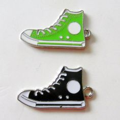 Lime Green and Black Converse Shoe Charms. $4.00, via Etsy.