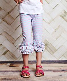 Blue & Pink Stripe Capri Leggings - Infant, Toddler & Girls