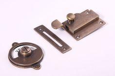 2x wc sluiting vrij bezet inlaat/bocht brons antiek (33,95 euro) voor toiletdeuren souterrain en bel-etage