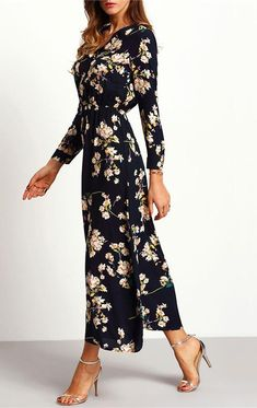 Floral Long Dress Sleeve Length(cm): Full Silhouette: Straight Neckline: V-Neck Dresses Length: Ankle-Length Waistline: Empire Decoration: Button Material: Polyester Sleeve Style: Regular Season: Autumn