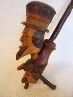 "1940s Vtg 11"" Wooden Hand Carved Painted German Folk Art Wood Face Pipe RARE | eBay"
