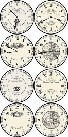 8 large vintage inspired clock images, each 7.5 diameter: 4 different clocks with hands and 4 without hands.