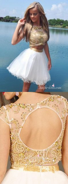 2016 homecoming dress, two-piece homecoming dress, white homecoming dress with gold beads, backless homecoming dress, evening dress, party dress, cocktail dress