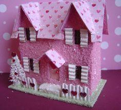 Valentine Putz style Village Glitter House by thesaltboxcollection, $20.00