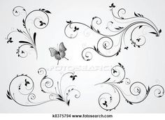 Clipart of Set of floral swirl designs k8375794 - Search Clip Art, Illustration Murals, Drawings and Vector EPS Graphics Images - k8375794.eps