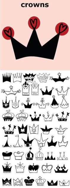 Crowns for Queens. Crowns for Kings. Royal crowns, regal crowns, party crowns, cute crowns, fairy princess crowns, hearts & swirls crowns. All drawn by Justine Childs for Outside the Line.