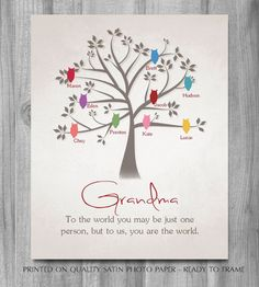 GRANDMA Birthday GIFT Owls Mothers Day By PrintsbyChristine Gifts For Grandma Quotes