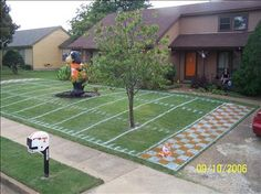"A lil bit of Neyland in Memphis. This is an older photo submitted by a reader who wrote: ""This was one of the most fun things I've ever done.  Everyone who came by wanted to run into the checkerboard endzone. Even an Arkansas running back who was in the neighborhood.(Only time he ever got to do it)"""