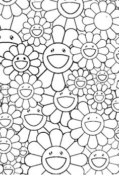Coloriage adulte Fleurs : Fleurs: Takashi Murakami 8 Plus Coloring Book Pages, Coloring Pages For Kids, Coloring Sheets, Takashi Murakami, Murakami Flower, Zen Colors, Free Coloring, Doodle Art, Japanese Art