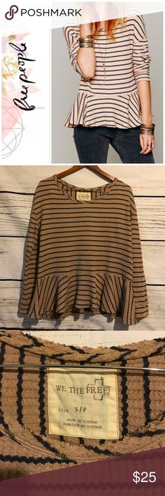 Free People WTF Stripe Peplum Thermal Previously owned FP We the Free stripe flowy Peplum Thermal. No rips or stains. Free People Tops Tees - Long Sleeve