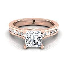 Princess Cut Diamond Engagement Ring With Pave Shank In 14k Rose Gold (1/3 Ct.tw.)