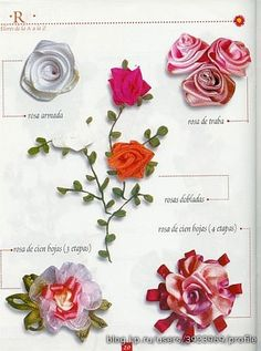 Flowers of the tapes. Talk to LiveInternet - Russian Service Online Diaries Ribbon Embroidery Tutorial, Silk Ribbon Embroidery, Embroidery Stitches, Embroidery Patterns, Felt Crafts, Paper Crafts, Ribbon Art, Japanese Embroidery, Flower Crafts