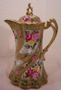 Image detail for -Vintage Nippon Chocolate Pot Decorated with Hand Painted Roses from ...