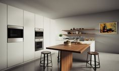 Simplicity Kitchen Designs: Simplicity Kitchen Designs With Wooden Table And Electric Stove