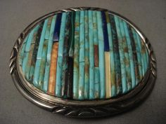 ONE OF THE BEST VINTAGE NAVAJO CORN ROW TURQUOISE SILVER BUCKLE