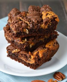Chocolate caramel pecan bars. Super easy to make with the help of a cake mix.