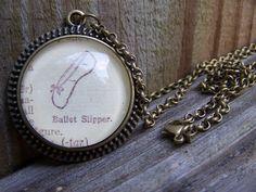 Ballet Slipper Cabochon Handmade Necklace by ChloesWindow, $24.00
