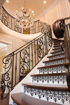 Staircase Riser Vinyl Decal Iron Pattern  Removable Stair Decals look like painted stencils!