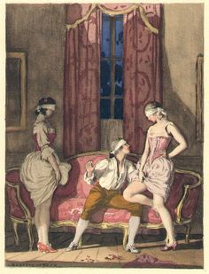 """""""'Very good. We'll play blindman's-buff.'  After drinking, we all three [Casanova, Armellina and Emilia] blindfolded one another, and then the great game began and, standing in front of me, they let me measure them several times, falling on me and laughing each time I measured too far up."""" from the 1932 French edition of Casanova's Histoire de ma Vie. Watercolor by Auguste Leroux (1871-1954)"""
