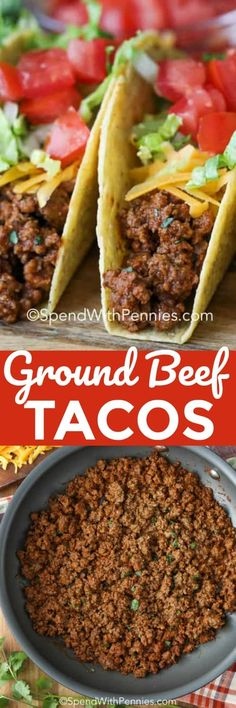 These easy ground beef tacos are perfect for taco night. We love making this bee. - tag - These easy ground beef tacos are perfect for taco night. We love making this beef taco recipe with homemade taco seasoning. Just add your favorite taco toppings! Taco Pasta Recipes, Healthy Taco Recipes, Mexican Food Recipes, Ground Beef Quesadillas, Ground Beef Tacos, Homemade Taco Seasoning Mix, Homemade Tacos, Ground Beef Recipes Easy, Beef Recipes For Dinner